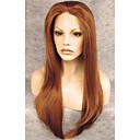 halpa Rooliasu peruukki-Synteettiset peruukit Suora Synteettiset hiukset Ruskea Peruukki Lace Front