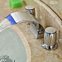 お買い得  人工毛キャップレスウィッグ-アールデコ調/レトロ風 組み合わせ式 滝状吐水タイプ LED セラミックバルブ 二つのハンドル三穴 クロム, バスルームのシンクの蛇口