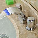 abordables Utensilios de Horno-Arte Decorativa/Retro Muy Difundido Cascada LED Válvula Cerámica Dos asas de tres agujeros Cromo, Baño grifo del fregadero
