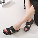 baratos Sandálias Femininas-Mulheres Sapatos Couro Ecológico Verão Chanel Sandálias Plataforma Flor Branco / Preto
