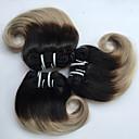 halpa Aitohiusperuukit-Brasilialainen Runsaat laineet Virgin-hius Ombre 4 pakettia 8 inch Hiukset kutoo kuuma Myynti Musta / Harmaa Hiukset Extensions