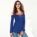 baratos Impressões-Mulheres Tamanhos Grandes Camiseta Básico Vazado, Sólido Decote U / Outono / Com Laço