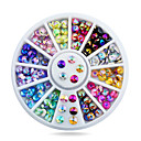 cheap Rhinestone & Decorations-1pcs 4mm nail art tips sharp glitter crystal ab colors rhinestone decoration wheel