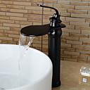 זול ברזים לחדר האמבטיה-חדר רחצה כיור ברז - קדם שטיפה / מפל מים / נפוץ נחושת עתיקה סט מרכזי שני חורי ידית אחת