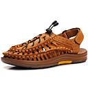 ieftine Sandale Bărbați-Bărbați Nappa Leather Primăvară / Vară Confortabili / Gladiator Sandale Maro Închis
