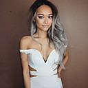 cheap Synthetic Capless Wigs-Synthetic Wig Wavy Synthetic Hair Ombre Hair / Dark Roots / Middle Part Gray Wig Women's Medium Length