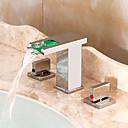 povoljno Slavine za umivaonik-Kupaonica Sudoper pipa - Waterfall / LED Chrome Slavine s tri otvora Dvije ručke tri rupeBath Taps