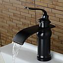hesapli Çıkartmalar, Etiketler ve Tagler-Banyo Lavabo Bataryası - Şelale Yağlı Bronz Ayrılmış Gövdeli Tek Kolu Bir Delik