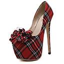 رخيصةأون أحذية نسائية-للمرأة أحذية قماش ربيع / صيف حديث كعوب كعب ستيلتو أمام الحذاء على شكل دائري عقدة / منقوش أحمر / الحفلات و المساء / فستان