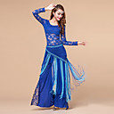 cheap Kids' Dancewear-Belly Dance Outfits Women's Training Polyester / Lace Lace Long Sleeve Natural Top / Pants / Hip Scarf