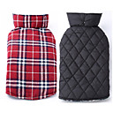 cheap Dog Clothes-Dog Coat Vest Dog Clothes Plaid/Check Beige Brown Red Green Cotton Costume For Pets Men's Women's Reversible Keep Warm