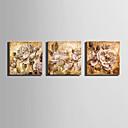 hesapli Tablolar-Çiçek/Botanik Avrupa Tipi, Üç Panelli Tuval Dörtgen Boyama Duvar Dekor Ev dekorasyonu