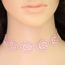 billige Festhovedtøj-Dame Kort halskæde / Krave / Tatovering Choker - Blonde Blomst Tatovering, Europæisk, Mode Lys pink Halskæder Smykker Til Afslappet