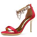 זול מוקסינים לנשים-בגדי ריקוד נשים נעליים נצנצים אביב / קיץ נוחות סנדלים עקב סטילטו ריינסטון לבן / שחור / אדום / חתונה / מסיבה וערב / מסיבה וערב