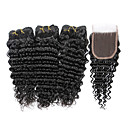 cheap LED Smart Bulbs-7a indian human virgin hair deep wave 4 4 lace closure with 3 bundles hair weft
