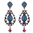 baratos Brincos-Mulheres Brincos Compridos - Strass Vintage, Europeu, Fashion Azul Para Diário