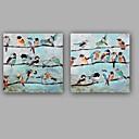 abordables Cuadros de Animales-Pintura al óleo pintada a colgar Pintada a mano - Abstracto Animales Clásico Modern Lona