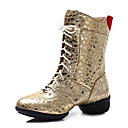cheap Dance Boots-Women's Latin Shoes / Jazz Shoes / Dance Sneakers Leatherette Sneaker Chunky Heel Customizable Dance Shoes Silver / Red / Dark Red
