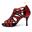 cheap Latin Shoes-Women's Latin Shoes / Jazz Shoes / Salsa Shoes Paillette Sandal / Heel Sequin / Crystal Heel Stiletto Heel Customizable Dance Shoes Black / Purple / Red / Indoor / Performance / Practice