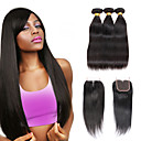cheap Synthetic Capless Wigs-3 Bundles with Closure Brazilian Hair Silky Straight Virgin Human Hair Natural Color Hair Weaves / Hair Weft with Closure 8-28 inch Human Hair Weaves 4x4 Closure 7a / Shedding Free / Tangle Free