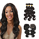 cheap Natural Color Hair Weaves-3 Bundles with Closure Brazilian Hair Body Wave Virgin Human Hair Natural Color Hair Weaves / Hair Bulk / Hair Weft with Closure 8-28 inch Human Hair Weaves 4x4 Closure 7a / Shedding Free / Tangle