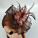 cheap Party Headpieces-Tulle / Feather Fascinators / Headwear with Floral 1pc Wedding / Special Occasion Headpiece