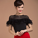 cheap Latin Dance Wear-Ballroom Dance Tops Women's Training Viscose Splicing Short Sleeves Natural Top