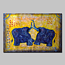 cheap Prints-Oil Painting Hand Painted - Animals / Pop Art Modern Stretched Canvas