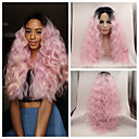 cheap Synthetic Lace Wigs-sexy beauty high heat resistant loose wave kinky curly lace front wig synthetic ombre pink dark root tone rock pink hair lace front wig cosplay wig