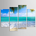 cheap Prints-Landscape Floral/Botanical Modern Realism, Four Panels Canvas Any Shape Print Wall Decor Home Decoration
