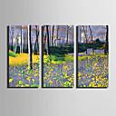 baratos Anéis para Homens-Paisagem Floral/Botânico Modern, 3 Painéis Tela de pintura Vertical Estampado Decoração de Parede Decoração para casa