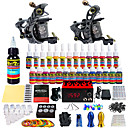 cheap Starter Tattoo Kits-Tattoo Machine Starter Kit - 2 pcs Tattoo Machines with 28 x 5 ml tattoo inks, Professional LCD power supply Case Not Included 2 alloy machine liner & shader