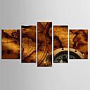 tanie Walcowane wydruki na płótnie-Wydrukować Abstrakcja / Sławne Klasyczny / Styl Pięć paneli