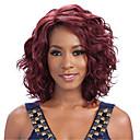 preiswerte Synthetische Perücken ohne Kappe-Synthetische Perücken Wellen Synthetische Haare Rot Perücke Damen Mittlerer Länge Kappenlos Dunkle Wein