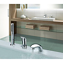 cheap Bathtub Faucets-Bathtub Faucet - Contemporary Art Deco / Retro Country Chrome Widespread Ceramic Valve