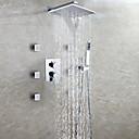 hesapli LED Duş Başlıkları-Çağdaş Duvara Monte Edilmiş Şelale Yağmur Duşları El Duşu Dahil Seramik Vana İki Kolları Dokuz Delikler Krom, Duş Musluğu