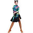 رخيصةأون أحذية نسائية-الرقص اللاتيني الفساتين للمرأة التدريب سباندكس مخمل نموذج / طباعة نصف كم فستان