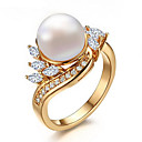 cheap Wall Stickers-Women's Pearl / AAA Cubic Zirconia Ring - Pearl, Zircon, Cubic Zirconia One Size Gold For Wedding / Party / Daily / Gold Plated / Casual