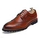 cheap Men's Boots-Men's Brogue Leather Spring / Fall Oxfords Black / Brown / Red / Wedding / Party & Evening / Leather Shoes