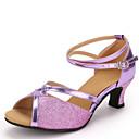 abordables Flores Artificiales-Mujer Zapatos de Baile Latino Lentejuelas / Semicuero Sandalia Tacón Cuadrado No Personalizables Zapatos de baile Dorado / Plata / Morado
