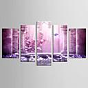 رخيصةأون مطبوعات-مناظر طبيعية الأزهار/النباتية كلاسيكي الطراز الأوروبي, خمس لوحات كنفا أي شكل الطباعة جدار ديكور تصميم ديكور المنزل