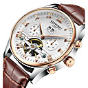 cheap Men's Slip-ons & Loafers-KINYUED Men's Skeleton Watch / Wrist Watch / Mechanical Watch Calendar / date / day / Chronograph / Water Resistant / Water Proof Leather Band Luxury / Casual / Dress Watch Brown