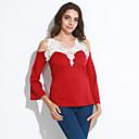 저렴한 여성 상의-여성용 솔리드 딥 V 버터플라이 소매 레이스-티셔츠