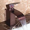 baratos Torneiras de Banheiro-Torneira pia do banheiro - Cascata Bronze Polido a Óleo Conjunto Central Monocomando e Uma Abertura