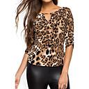 baratos Novidades em Iluminação-Mulheres Camiseta - Para Noite Feriado Moda de Rua Leopardo