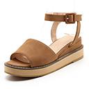 baratos Sandálias Femininas-Mulheres Sapatos Couro Ecológico Verão / Outono Sandálias Sem Salto Ponta Redonda Presilha Bege / Amarelo / Rosa claro