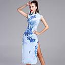 preiswerte Tanzkleidung für Balltänze-Latein-Tanz Kleider Damen Leistung Chinlon / Viskose Muster / Druck Ärmellos Normal Kleid