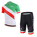 baratos Camisas & Shorts/Calças de Ciclismo-Miloto Manga Curta Camisa com Shorts para Ciclismo - Branco Moto Shorts Acolchoados Conjuntos de Roupas, Tapete 3D, Secagem Rápida,