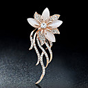 cheap Brooches-Brooches - Rhinestone Flower Brooch Gold For Party / Casual