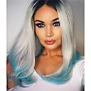 olcso Férfi nyakláncok-Szintetikus csipke front parókák Egyenes Bob frizura Szintetikus haj Középen elválasztott frizura / Természetes hajszálvonal Kék Paróka Női Csipke eleje Kék